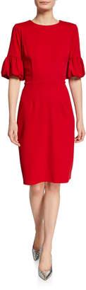 Neiman Marcus Balloon-Sleeve Sheath Dress