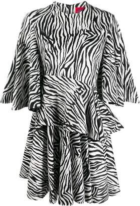 SOLACE London zebra-print draped dress