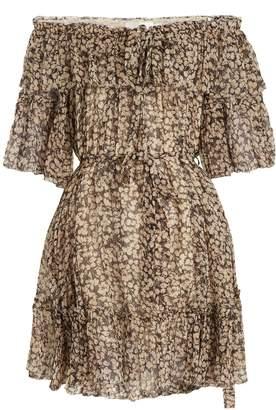 Zimmermann Prima Cherry off-the-shoulder silk-georgette dress