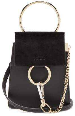 Chloé Faye Mini Suede Panel Leather Cross Body Bag - Womens - Black