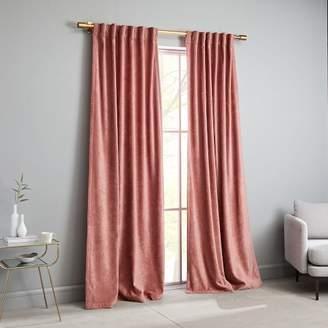 west elm Worn Velvet Curtain - Pink Grapefruit