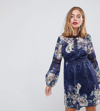 Little Mistress Petite petite all over lace skater dress in navy floral print