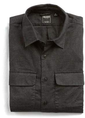 Todd Snyder Italian Stretch Cotton Flannel Camp Pocket Shirt in Charcoal
