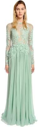 Elie Saab Tulle & Georgette Dress W/ Macramé Lace