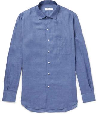 Loro Piana Andre Slub Linen Shirt - Blue