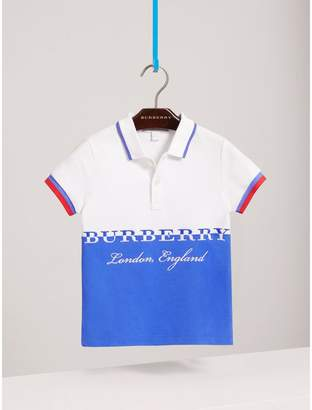 Burberry Embroidered Two-tone Cotton Piqué Polo Shirt