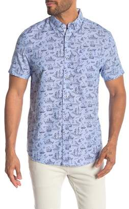 Report Collection Ship Print Short Sleeve Oxford Shirt