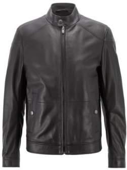 BOSS Hugo Regular-fit blouson jacket in nappa lambskin 40R Black