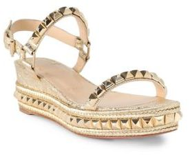 Christian Louboutin Cataclou 60 Studded Metallic Leather Espadrille Wedge Sandals $795 thestylecure.com