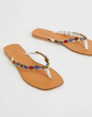 21f2bb0c70e Asos Design DESIGN Fitzrovia leather embellished flip flops