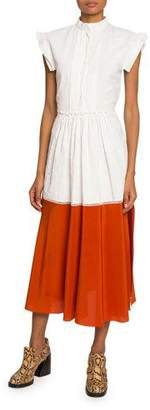 Chloé Cap-Sleeve Two-Tone Coated Linen Dress