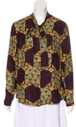 Stella Jean Silk Button-Up Blouse