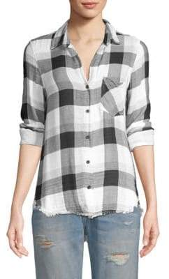 Bella Dahl Frayed Plaid Shirt