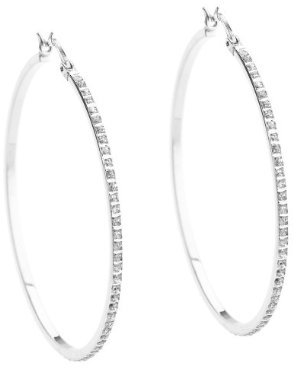 Platinum Over Sterling Silver Diamond Accent Large Round Hoop Earrings - White