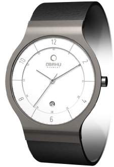Obaku Men's V133GTIRB Dial Titanium Leather Date Watch