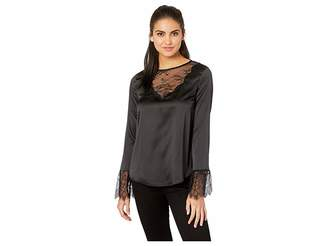 Miss Me Scalloped Lace Trim Long Sleeve Top
