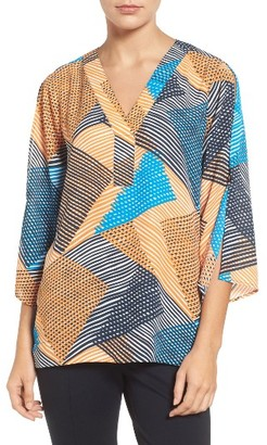 Women's Chaus Split Sleeve Basket Weave Print Blouse $79 thestylecure.com