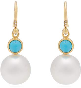 Irene Neuwirth Yellow-gold, turquoise and pearl earrings