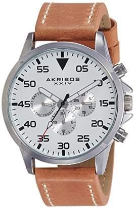 Akribos XXIV Men's AK773SSBR Silver-Tone Watch With Brown Leather Band