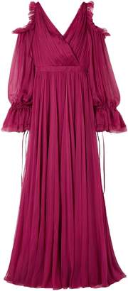 Alexander McQueen Cold-shoulder Ruffle-trimmed Pleated Silk-chiffon Gown