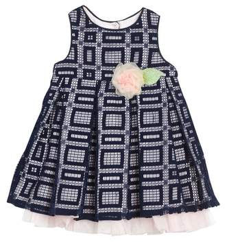 Pippa & Julie Sleeveless Front Tacked-On Bow Pleated Dress (Baby Girls 12-24M)