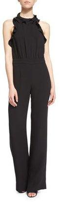 Diane von Furstenberg Blithe Silk Ruffle-Trim Halter Jumpsuit, Black $598 thestylecure.com