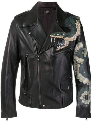 HTC Los Angeles snake print biker jacket