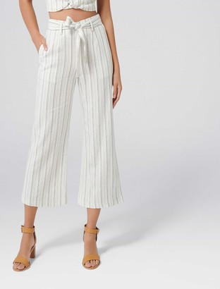 Forever New Lydia Petite Co-ord Linen Pants - Charcoal Stripe - 12