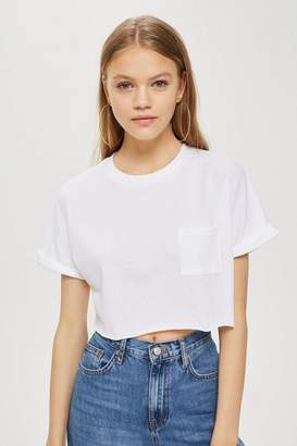 Topshop Petite Sewn Off Crop T-Shirt