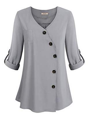 Women's V Neck Solid Loose Casual Cuffed Long Sleeve Tunic Chiffon Blouses Tops