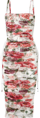 Dolce & Gabbana Lace-up Ruched Floral-print Cotton And Silk-blend Tulle Midi Dress - White