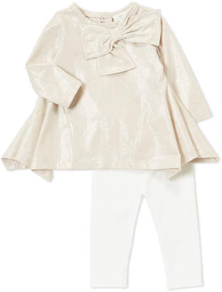 Miniclasix (Infant Girls) Two-Piece Metallic Bow Sharkbite Tunic & Leggings Set