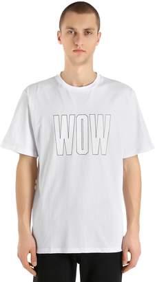 MSGM Wow Printed Cotton Jersey T-Shirt