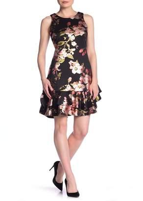 Robbie Bee Sleeveless Printed Flounce Dress