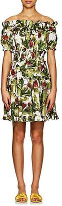 Dolce & Gabbana Women's Fig-Print Cotton Poplin Tiered Minidress
