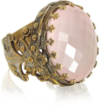 Medici Sara Bencini Polished Brass w/Oval Faceted Pink Quartz The Ring