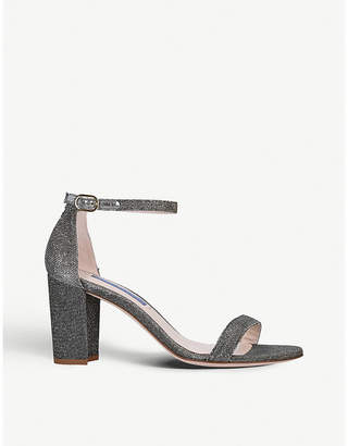 Stuart Weitzman Nearlynude metallic block-heel glitter sandals
