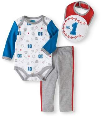 Bon Bebe Newborn Baby Boy Bodysuit, 3D Bib & Pant 3pc Set