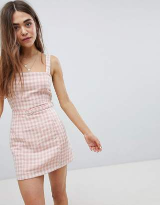 Nobody's Child Gingham Cami Dress With Waist Belt