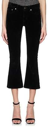 Saint Laurent Women's Velvet Crop Kickback Jeans - Black