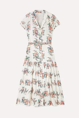 Veronica Beard Meagan Floral-print Silk Crepe De Chine Midi Dress - White