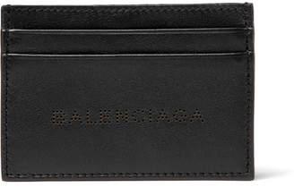 Balenciaga Laser-Cut Leather Cardholder - Black