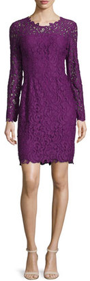 Elie Tahari Bellamy Lace Long-Sleeve Dress, Garnet $498 thestylecure.com