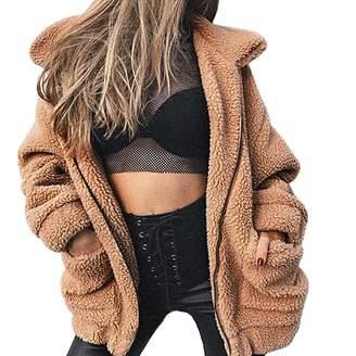Winter Faux Coat,GREFER Women's Lapel Long Sleeve Faux Shearling Coat Warm Outwear