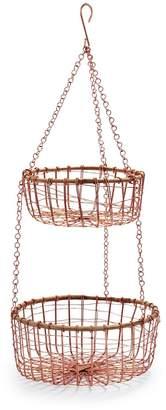 Sur La Table Two-Tier Hanging Rose-Gold Wire Basket