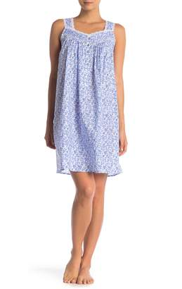 Eileen West Printed Lace Trim Nightgown