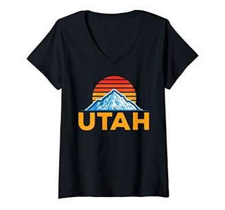 Womens Retro Utah Home Grown Graphic Icon Souvenir State Pride Top V-Neck T-Shirt