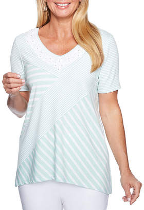Alfred Dunner Day Dreamer Short Sleeve Scoop Neck Stripe T-Shirt-Womens