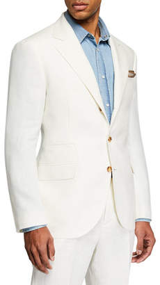 Brunello Cucinelli Men's Chevron Panama Two-Piece Linen Suit