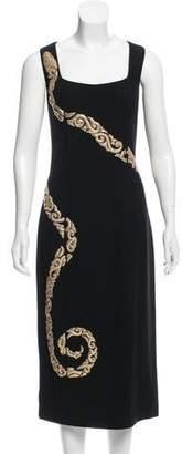 L'Wren Scott Leather-Trimmed Midi Dress